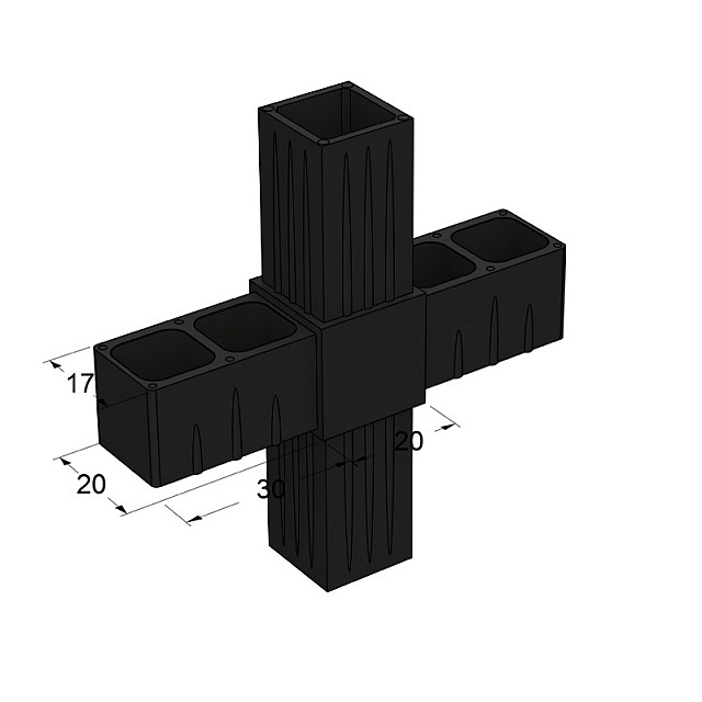 CROSS CONNECTOR 20x20, BLACK
